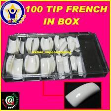 BOX 100 TIP TIPS BIANCHE FRENCH RICOSTRUZIONE UNGHIE KIT GEL SMALTO UV MANI ! !