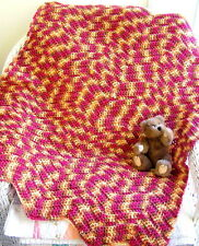 CROCHET chevron BABY BLANKET AFGHAN wrap HANDMADE RED gold VARIEGATED RIPPLE