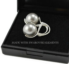 *LIGHT GREY PEARL* 925 Sterling Silver Earrings 12mm Crystals from Swarovski®