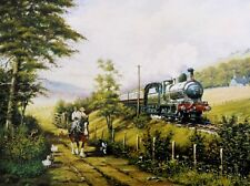 BEAUTIFUL PRINT PICTURE PAINTING SHIRE AND STEAM STEAM TRAIN LOCOMOTIVE