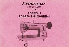 Consew 204Rb-1, 206Rb-1 And 208Rb-1 Parts Manual In Acrobat Pdf Format