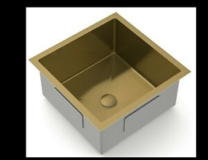 Burnished Brushed Brass Gold stainless steel kitchen sink R10 trough pantry bowl