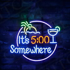 """""""It's 5:00 Somewhere"""" Real Glass Vintage Neon Sign Light Happy Beer Bar Decor"""