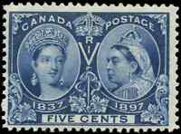 Canada #54 mint F-VF OG HR 1897 Queen Victoria 5c deep blue Diamond Jubilee