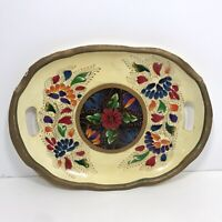 "Vtg Hand Painted Wood Serving Tray Nashco Oval Handles 13.5""x10"""