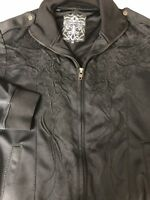 Roar Men Tali Jacket Enough Excuses Black Embroidered Full Zip Up Down Medium M