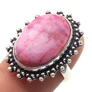 Pink Moonstone & 925 Sterling Silver Plated Ring US 9 Jewelry T4407