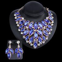 Charm Jewelry Set Crystal Choker Chunky Statement Bib Pendant Necklace Earring