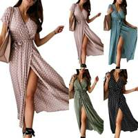 Ladies Short Sleeve V Neck Polka Dot Long Dress Casual Summer Beach Sundress AU