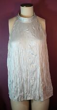 Theory Crinkle Top Sleeveless Blouse Color Light Grey Size Large NWT RV$215