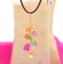 """sapphire tourmaline topaz gemstone briolette necklace 14k gold 18"""" 43cm 3ct"""