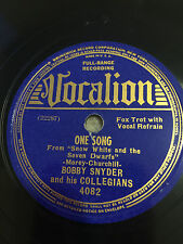 One Song  & Its Wonderful Bobby Synder & his Collegians 78-VOCALION #4082 Record