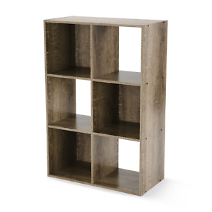 Stylish Accented 6 Cube Storage Organizer, Rustic Brown or Canyon Walnut