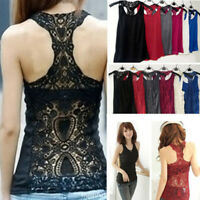 UK Ladies Plain U Neck Vest Top Lace Trim Backless T-shirt Cami Strappy Camisole