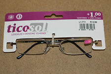 Metal Frame Ticosol Branded Reading glasses strength 1.00 Brand New