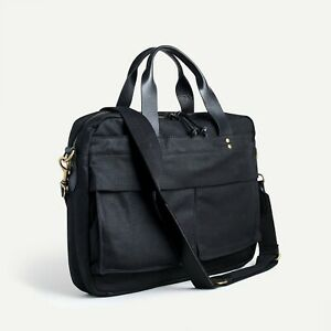 "$158 NWT J. CREW Black waxed cotton Laptop multi 11.5"" x 16""W Abingdon briefcase"