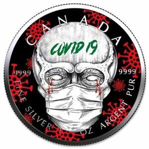 "Kanada - 5 Dollar 2021 – Maple Leaf "" Pandemie SKULL"" - 1 Oz - Silber 50 Stück"