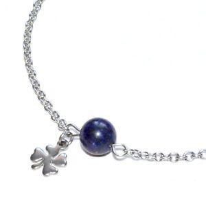 Zéeo Jewelry Chain Anklet Steel Silver Lapis Lazuli Charm