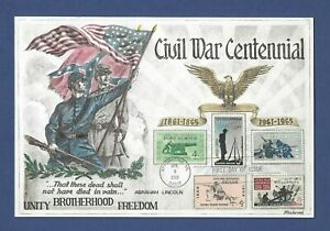 CIVIL WAR CENTENNIAL - BEAUTIFUL HAND COLORED / PAINTED 1965 FLEETWOOD MAXI CARD