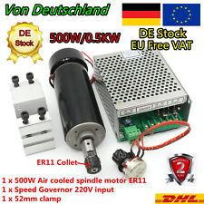 『in DE』500W Air Cooled CNC Spindle Motor ER11 100V DC+Speed governor+ 52mm Mount