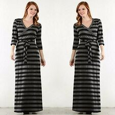 Plus LONG SLEEVE CHARCOAL BLACK STRIPED MAXI WRAP DRESS 70's BOHO 1X-3X USA MADE