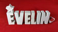 Beton, Steinguss Buchstaben 3D Deko Namen EVELIN als Geschenk verpackt!