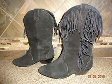 Womens Leather Craft Sz 8M Black Suede Leather Fashion Cowboy Boots Fringes