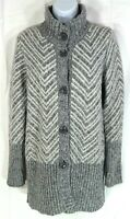 Maryline Women's Long Cardigan Sweater Size M Medium Gray White Wool Blend Italy