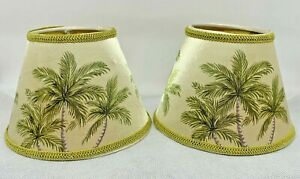 2 Small Lamp Shades Clip On Chandelier Tropical Tommy Bahama Style - Palm Trees
