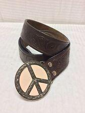 "Allison Daniel Tooled Leather Belt Peace Buckle, removable buckle,34"",36"",38"""