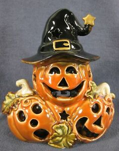 Pumpkin Trio Tealight Holder Figural Halloween Jack-o-Lantern Ceramic