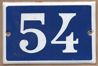 Old enamel blue French house number 54 for door or wall - thousands in stock