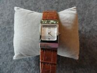 Pretty Swiss Made Anne Klein Quartz Ladies Watch with a Leather Band
