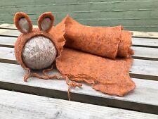Uk Fox Blanket  Handmade hat Photography prop Baby Newborn Set Photo Props