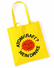 Fuerza atómica no gracias Cotton Bag bolsa de tela amarilla