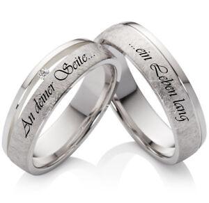 Partnerringe Eheringe 925 Silber mit Diamant und persönlicher Lasergravur SLB43
