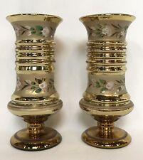 "Pair Antique Victorian 7"" Hand Painted Gold Mercury Glass Vases"