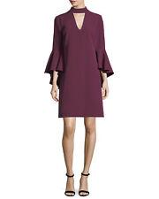 New Milly Andrea Bell-Sleeve Italian Cady Minidress Berry Size 8 $425 Burgendy
