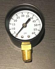 "New listing 0-60 Psi pressure Gauge 2"" steel case 1/4 Mip btm Threaded Connection New"