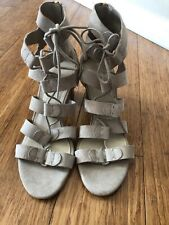b18accdfcce6 EUC Marc Fisher Suede Lace-up Block Heel Sandals - Paradox Tan Sand Size 9W