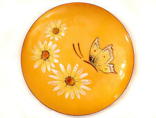 """MID CENTURY MOD Enamel on COPPER Plate DAISIES w Cabochon Jewels & BUTTERFLY 8"""""""