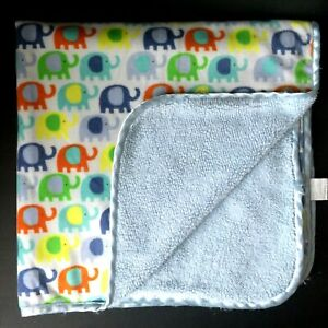 Little Beginnings Colorful Elephant Blue Baby Blanket Sherpa Security Lovey