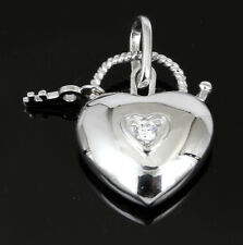 Solid Sterling Silver Love HEART LOCK and KEY Filigree CZ Pendant Chain Necklace
