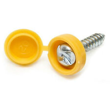 Number Plate Screws - Pair of Number Plate Screws with Yellow Plastic Cap