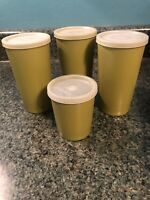 Vintage Tupperware Tumblers Green 1251 873 Stackable Glasses With Lids Lot of 4