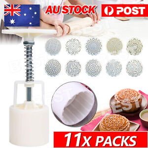 100g 10 Flower Stamps Round Pastry Moon Cake Mold Mould Cookies Mooncake Decor