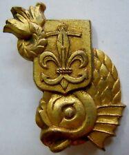 Insigne SCOUT SCOUTISME SCOUTS MARINS 1945 Triton Marine France ORIGINAL métal