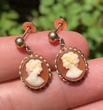 Antique Vtg 10k Rose Gold Shell Cameo Portrait Lady Screw Back Earrings