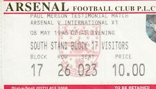 Billete-Arsenal V internacional XI 08.05.96 testimonios de Paul Merson