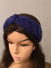 Knit headband ear warmer Wool/Soft Acrylic blend headband in blue